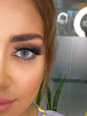 خرید لنز طوسی آبی بدون دور برند شیخ بیوتی